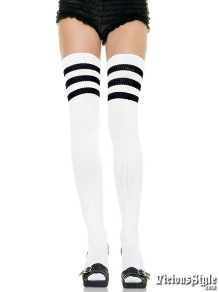 White Amp Black Striped Over The Knee Socks Leg Avenue