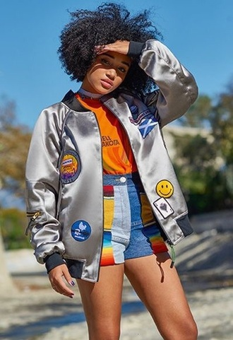 jacket bomber jacket silver iron on patches retro 70s style hippie shorts rainbow shorts ombre high waisted shorts denim shorts rainbow ombre denim