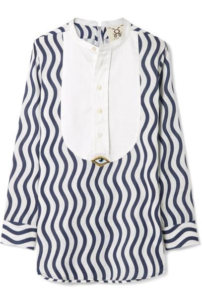 top embellished navy cotton