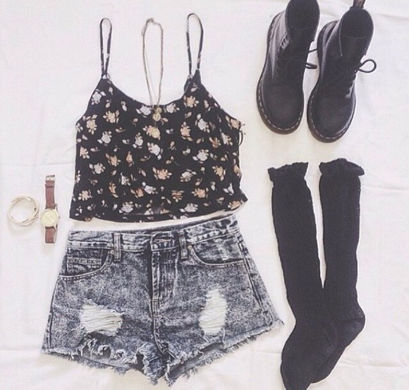 DrMartens jeans denim shorts top blouse floral denim knee high socks acid wash