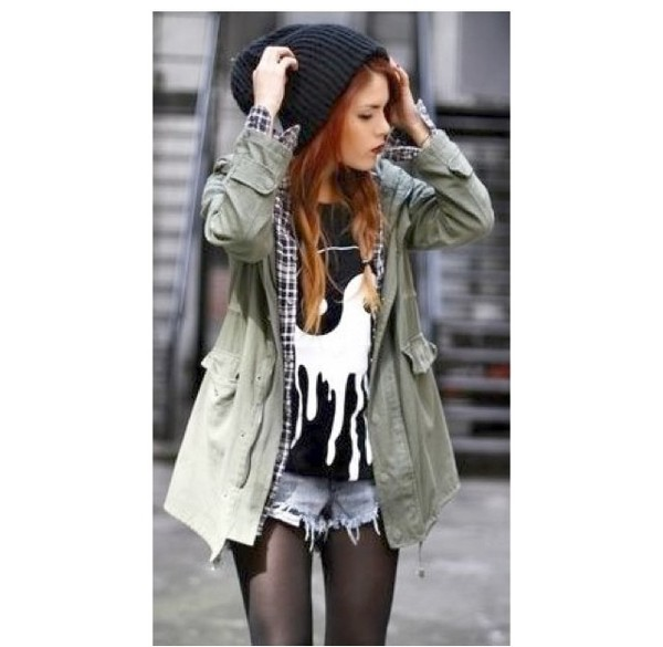 jacket girly love green army green jacket