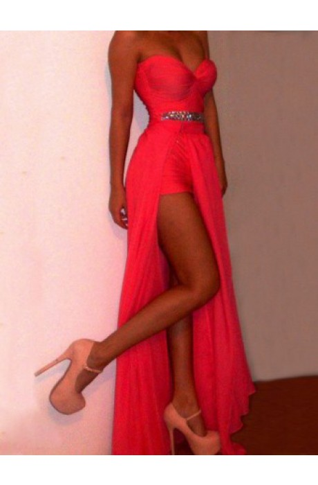 Princess sweetheart floor length chiffon red prom dress with beaded napd0017 sale at shopindress.com