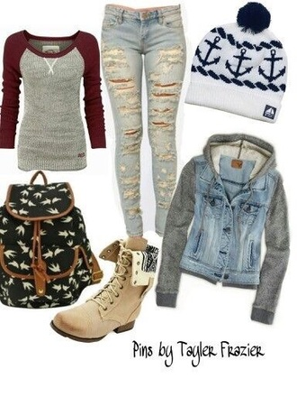 shirt red grey top hat bag jacket shoes winter outfits jeans