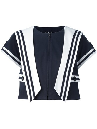 jacket cropped jacket sailor style cropped women spandex cotton blue