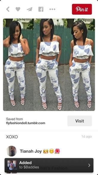jumpsuit tropical lilac white dress baddies black girls killin it outfit fashion style