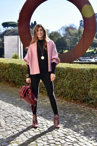 cosamimetto blogger cardigan pants shoes bag jewels pink jacket ankle boots backpack black pants spring outfits