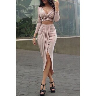 dress two piece dress set long sleeves crop tops fashion style trendy pink rose wholesale-ma two-piece crop cropped long sleeve crop top long sleeve dress slit dress slit skirt slit maxi skirt slit front slit skirt girly girl girly wishlist