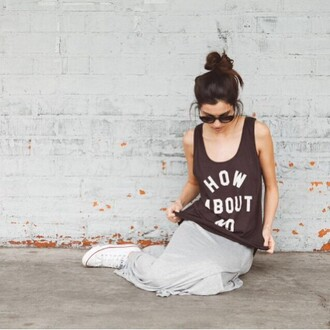 tank top clayton black graphic tee revolve clothing revolve revolveme casual muscle tee quote on it grey skirt converse
