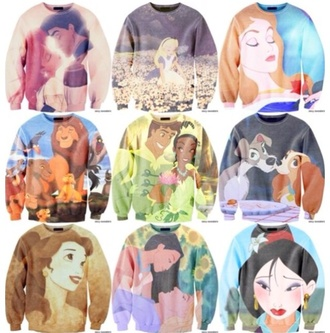 sweater jumper disney disney sweater mulan disney princess princess light blue