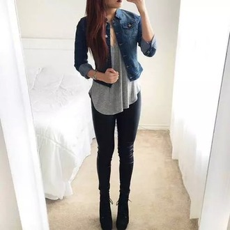 t-shirt casual denim jacket high waisted jeans high heels summer outfits coat
