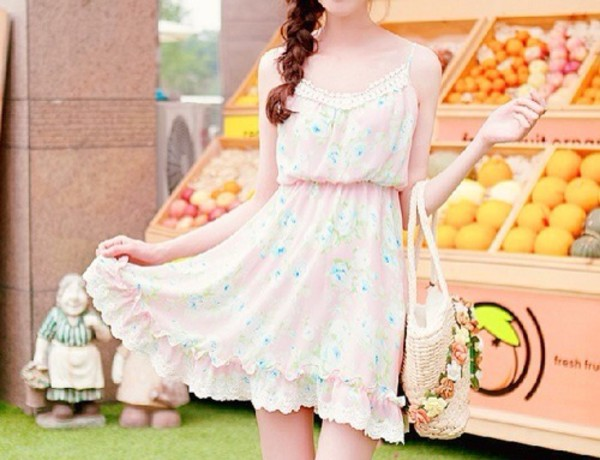 pink dress little dress kawaii kawaii dress kfashion floral dress cute dress little pink dress frilly dress