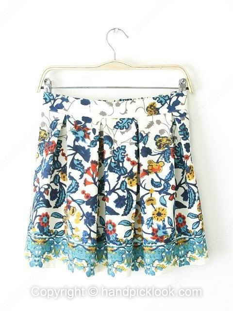 Blue Zipper Fly Floral Print Pleated Skirt - HandpickLook.com