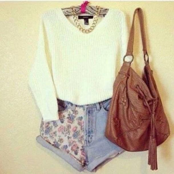 sweater shorts bag floral beautiful necklace shirt fall sweater likeforlike