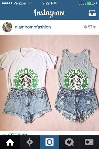 tank top t-shirt shirt tank top starbucks coffee starbucks coffee shorts cut off shorts