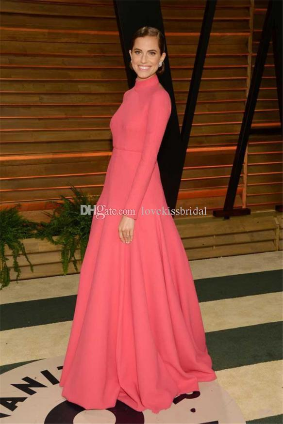 Wholesale Evening Dresses - Buy New Design High Neck Long Sleeve Evening Dresses Floor Length A-Line Backless Prom Gowns Formal Red Carpet Celebrity Dress $108.91 | DHgate