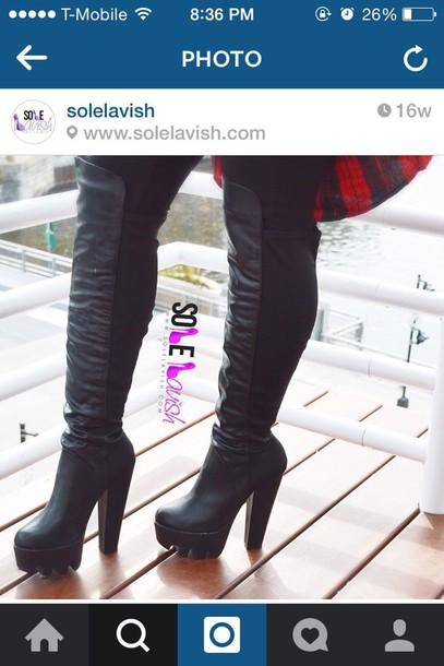 shoes boots chunky heels knee length