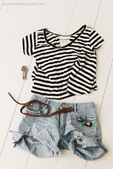 shorts shirt light wash stripes tee crop midi shorts casual
