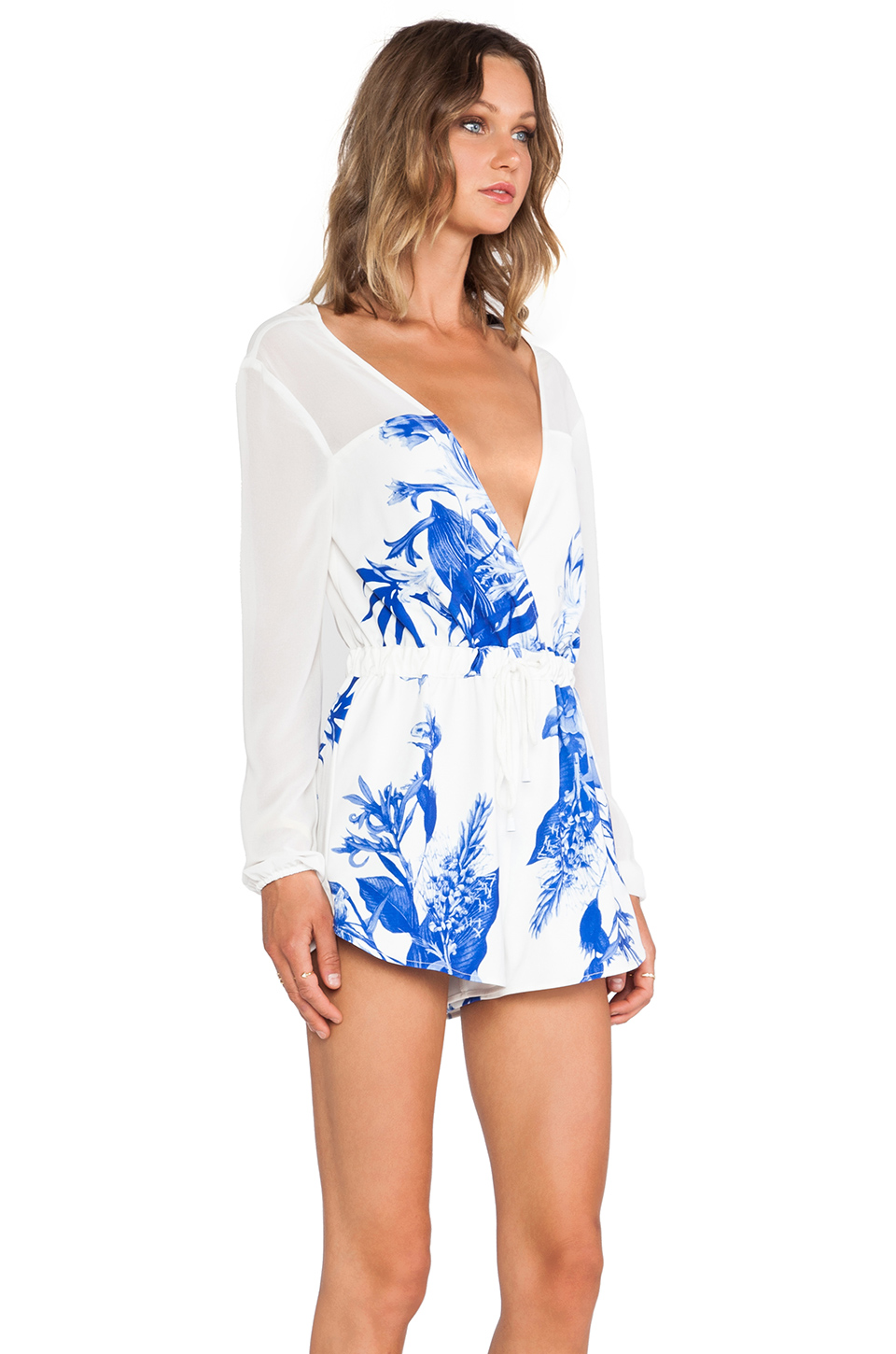 Style stalker love on top romper in blue floral from revolveclothing.com