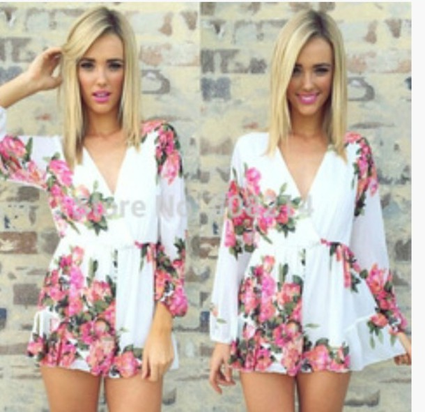 jumpsuit flowers colorful