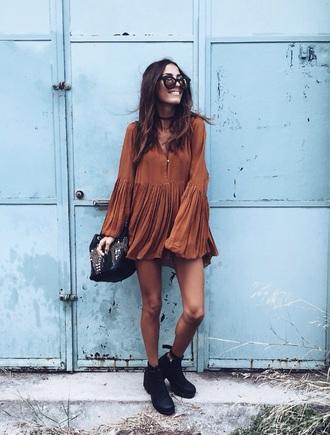 dress brow brown dress boho hippie beige summer hippie dress summer dress