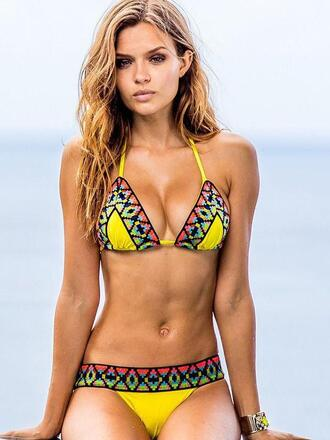 swimwear bikini yellow trendy summer hot sexy wealfeel