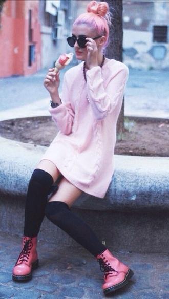 dress sweater dress pastel pink dress