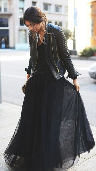 skirt black long skirt tulle skirt jacket top dress