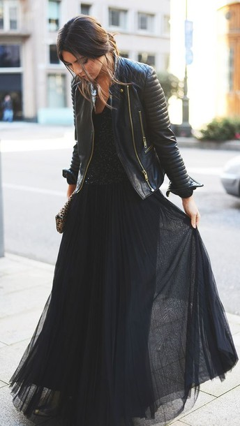 skirt black long skirt tulle skirt jacket top dress