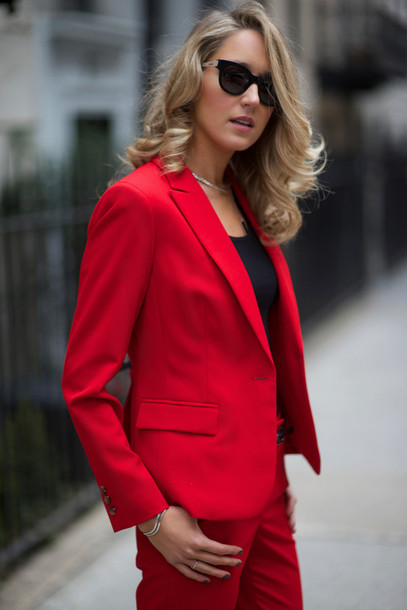 the classy cubicle shoes t-shirt jewels sunglasses work outfits pants power suit womens suit red pants office outfits blazer red blazer top black top flats black flats cat eye black sunglasses