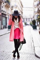 meet me in paree,blogger,pink skirt,pink coat,felt hat,oversized turtleneck sweater,coat,skirt,shoes