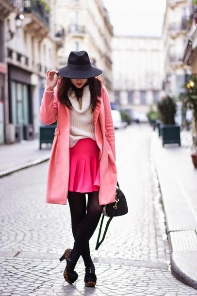 meet me in paree blogger pink skirt pink coat felt hat oversized turtleneck sweater coat skirt shoes
