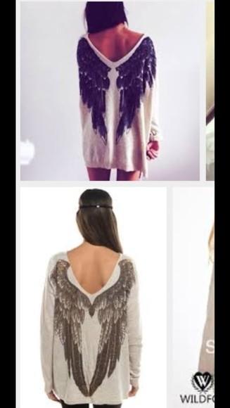 beige pullover angel wings v-necked u-necked loveley wearing wrong v/u - necked angel wings sweater beige & black