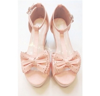 shoes t-strap heels bow heels girly asian japanese gyaru korean fashion boho pretty sandals cute bow wedges kawaii polka dots