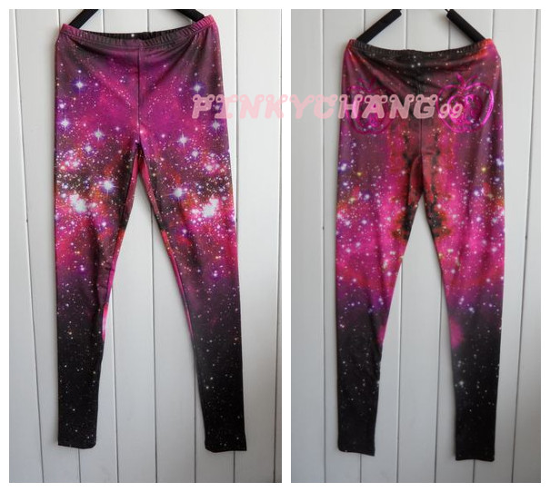 Purple psychedelic printed cosmic galaxy tights leggings