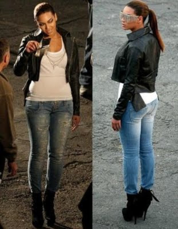 jeans jacket and leather tight Girls