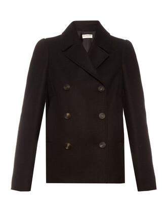 coat pea coat wool black