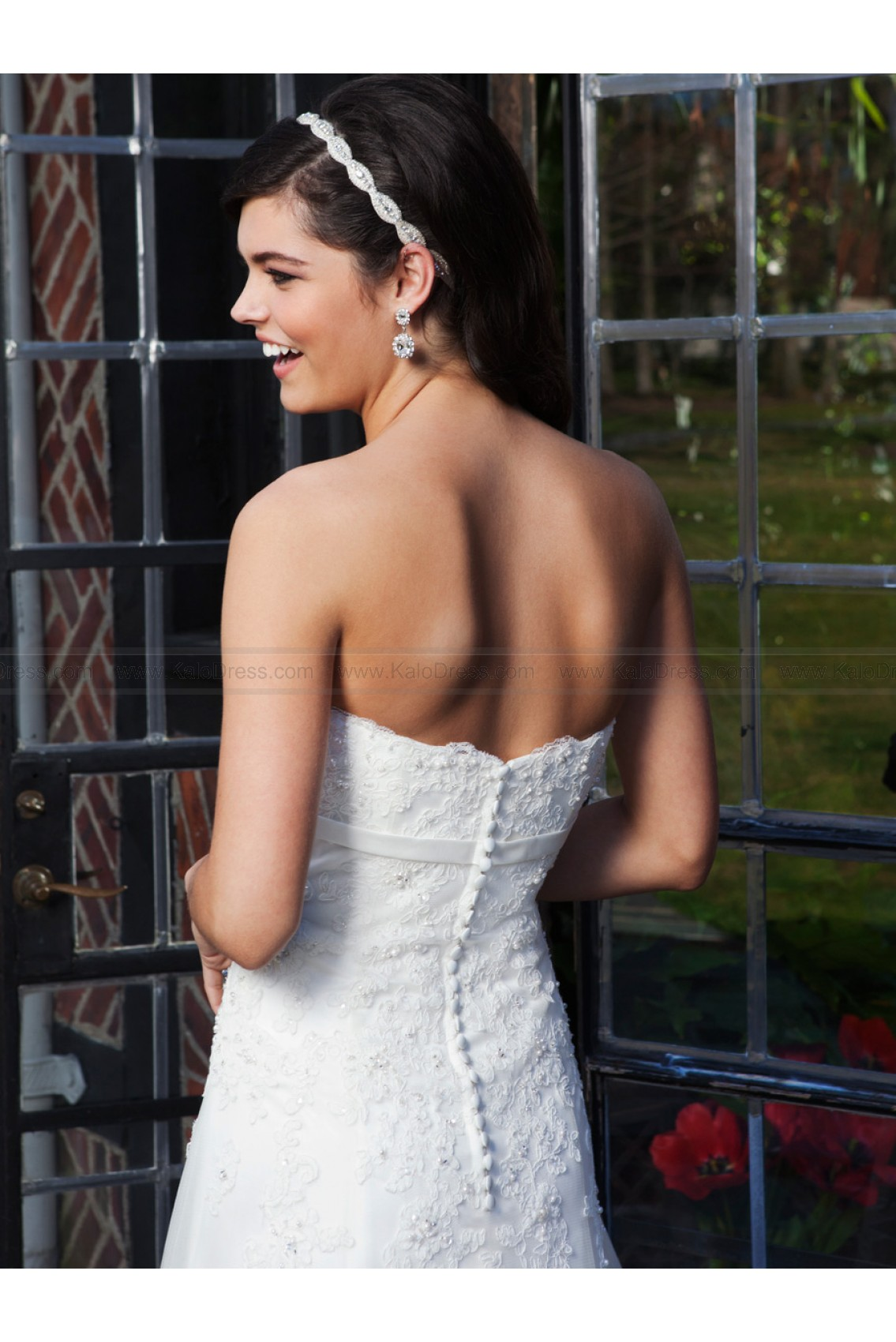 Strapless Bow Accent Empire Waist Lace A-line Bridal Dress by Sincerity 3734 - Beach Wedding Dresses - Informal Wedding Dresses