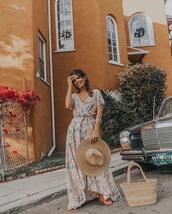 le fashion image,blogger,hat,dress,bag,shoes,straw hat,straw bag,basket bag,maxi dress,summer dress,summer outfits