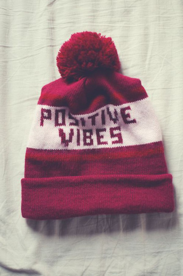 red pom pom beanie positive vibes hat