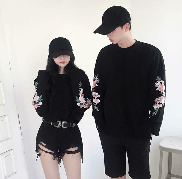 shirt black roses cute pretty long sleeves top