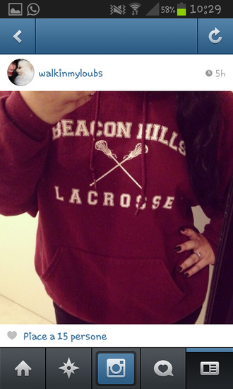 sweater sweatshirt beacon hills lacrosse beacon hills lacrosse lacrosse teen wolf teen wolf beacon hills teen wolf teenagers wolf beacon hills sweater beacon hills sweater lacrosse sweater teen wolf red sweater red white and red and white girl aw tumblr fashion punk rock oversized sweater big screen phone my phone winter outfits outfit burgundy instagram winter sweater sexy sweater big heavy sweater