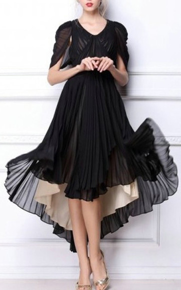 pleated dress black evening dresses