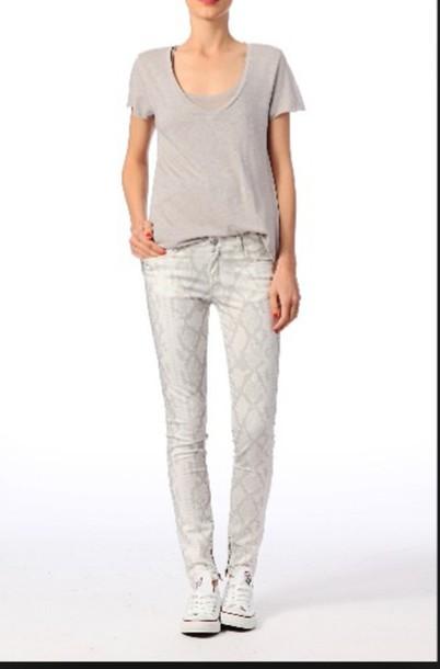 jeans white python