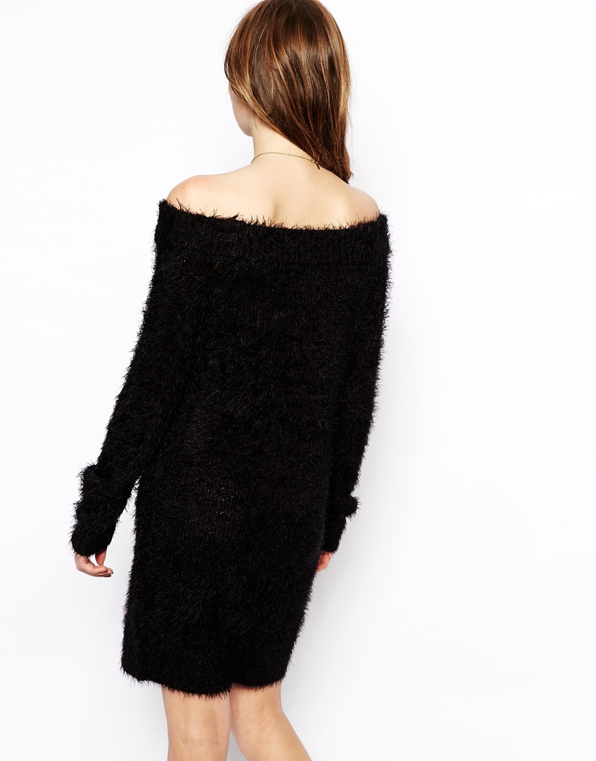 ASOS Knitted Fluffy Dress With Bardot Neck at asos.com