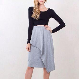 skirt bogatte wool skirt gray wool sugarlips asymmetrical skirt