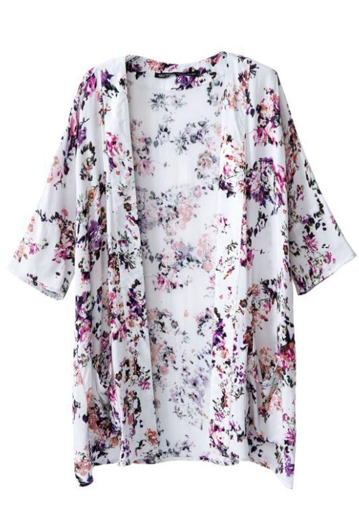 Women's short sleeve flowers print tassel kimonos online
