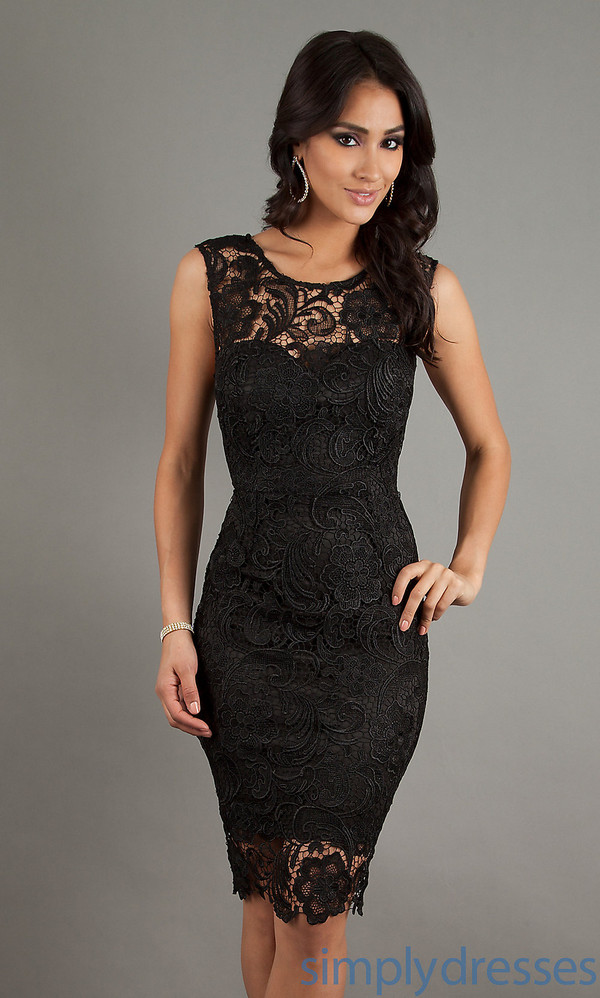 dress black lace dress sweetheart neckline short sleeve