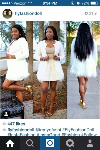 jacket white jacket white furry jacket white furry fur coat outerwear clean classy chic curvy