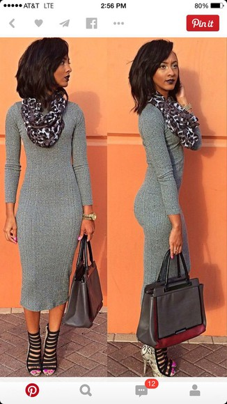 sweater dress snake print hairstyles leopard print high heels midi dress bodycon dress