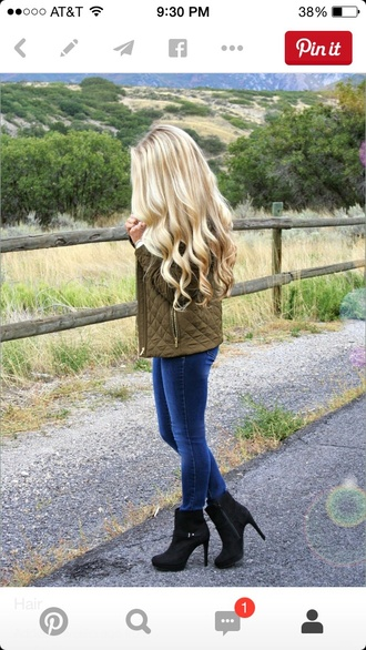 jacket jeans blonde hair quilted khaki